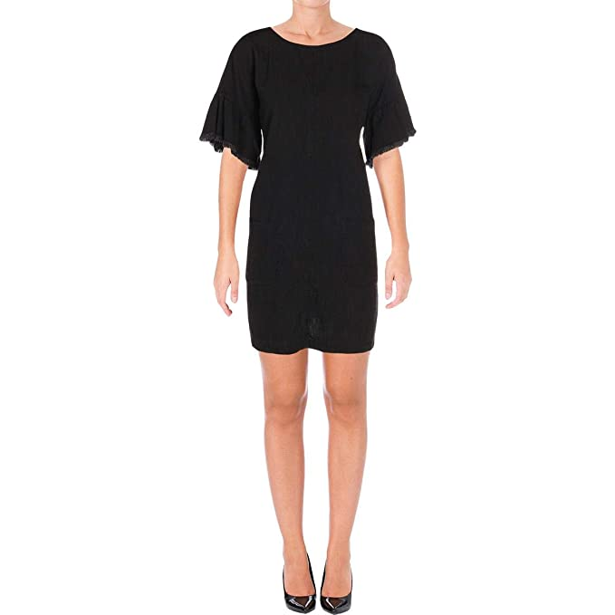 Two by Vince Camuto Women s Ruffle Sleeve Drop Shoulder Two-Pocket Dress  Rich Black X f6df1aa79d