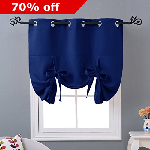 Blackout Curtain for Bathroom Windows - Adjustable Tie Up Shade Small Blind by NICETOWN (Grommet Top Panel, 46