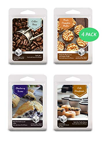 4 Pack - Cafe Bakery Soy Blend Scented Wax Melts Wax Cubes, 10.0 oz, [24 Cubes] with Coffee Shop, Blue Berry Scone, Maple Pumpkin Muffin and Cafe Doughnuts