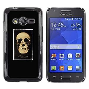 MobileHut / Samsung Galaxy Ace 4 G313 SM-G313F / Retro Skull Love Couple Black Poster / Delgado Negro Plástico caso cubierta Shell Armor Funda Case Cover