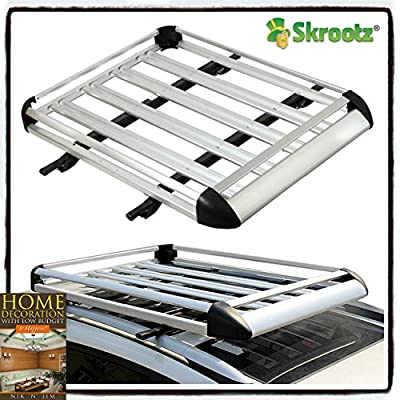"""50""""x38"""" Aluminum Car Roof Cargo Carrier Luggage Basket Rack Top w/Crossbars New by Skroutz"""