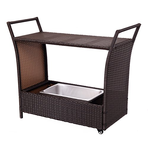 Aluminum Serving Cart - Giantex Patio Rolling Rattan Kitchen Trolley Cart Dining Aluminum Frame with Storage Box