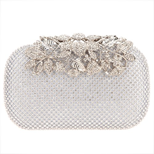 Silver Crystal Flower Bags Clutch Rhinestones with Purses Evening Bonjanvye A8TytSS