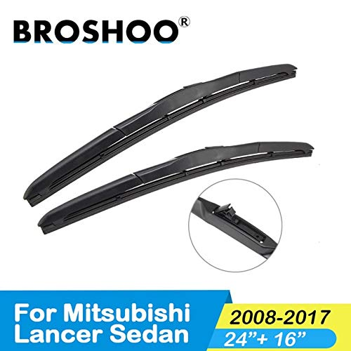 Wipers Hukcus Car Windscreen Wipers Blade For Mitsubishi Lancer Sedan/Wagon/Sport Model Year From 2003 To 2017 Fit Standard Hook Arm - (CN, Color: Sedan2008-2017 S2416)