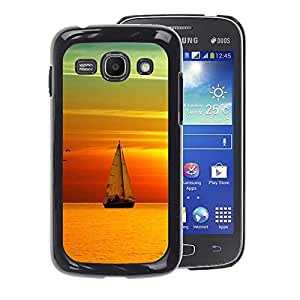 A-type Arte & diseño plástico duro Fundas Cover Cubre Hard Case Cover para Samsung Galaxy Ace 3 (Teal Orange Sunset Sail Boat Sea)