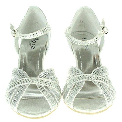 Aarz señoras de las mujeres de la tarde Comfort Slip-El Diamante Bloque del talón del banquete de boda de la sandalia tamaño de los zapatos (Oro, Plata) Plata