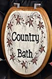 Primitive Country Decor Hand Painted Elongated Oak Toilet Seat Country Bath Rusty Tin Stars Made in USA