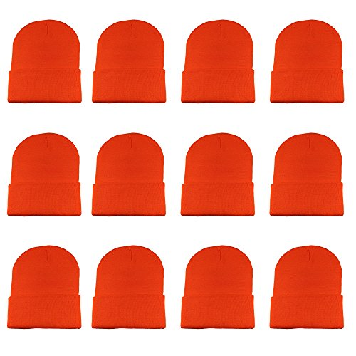 Gelante Unisex Beanie Cap Knitted Warm Solid Color Multi-Packs (12 Pack: Orange)