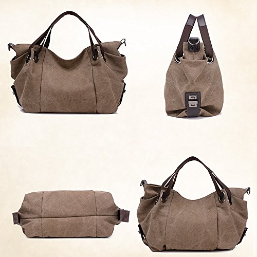 Adjustable Shopping Hobo with Bag Coffee Canvas Bag Large Tote Strap Shoulder Duofeiya qwpz7fW
