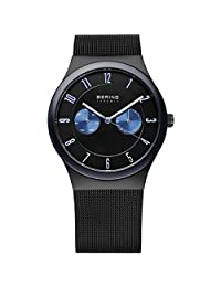 BERING Time Men's Ceramic Collection Watch with Mesh Band and scratch resistant sapphire crystal. Designed in Denmark. 32139-227