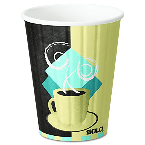 Solo Duo (SOLO Cup Company IC12J7534CT Duo Shield Hot Insulated 12oz Paper Cups, Tuscan, Chocolate/Blue/Beige, 40 Per Pack (Case of 600))