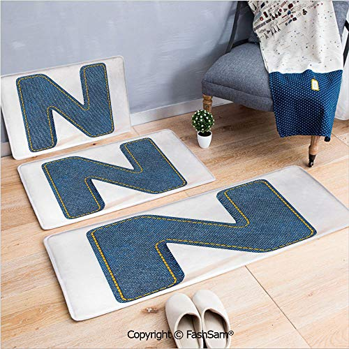 3 Piece Flannel Bath Carpet Non Slip N Uppercase Letter with Denim Alphabet Font Design Blue Jean Writing System Retro Decorative Front Door Mats Rugs for Home(W15.7xL23.6 by W19.6xL31.5 by W15.7xL39.