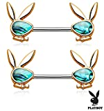 Forbidden Body Jewelry Surgical Steel Abalone Shell Playboy Bunny Emblem Nipple Barbells (Rose Gold Tone)