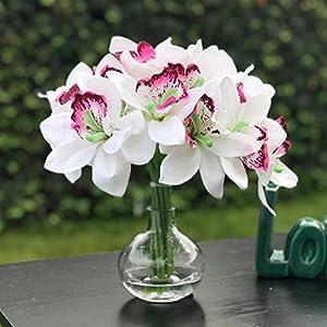 Enova Home White Silk Orchid Artificial Flowers Bouquet Flower Arrangement 18 pieces With Glass Vase for Home Wedding Party Garden Decor 79