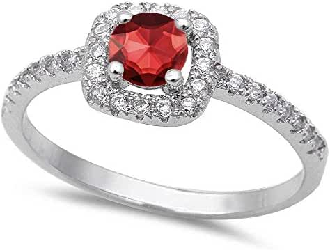 Halo Simulated Ruby & Cubic Zirconia .925 Sterling Silver Ring Sizes 4-10