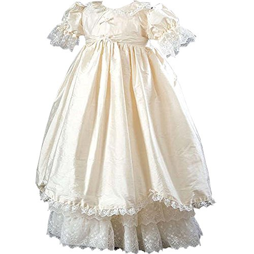 - Michealvoy Baby Girls Ivory Lace Ruby Silk Christening Gown & Bonnet