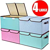 senbowe Larger Storage Cubes [4-Pack] Linen Fabric Foldable Collapsible Storage Cube Bin Organizer Basket with Lid, Handles, Removable Divider for Home, Office, Nursery, Closet - (17.7 x 11.8 x 9.8')