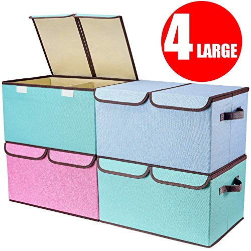 (senbowe Larger Storage Cubes [4-Pack] Linen Fabric Foldable Collapsible Storage Cube Bin Organizer Basket with Lid, Handles, Removable Divider for Home, Office, Nursery, Closet - (17.7 x 11.8 x 9.8