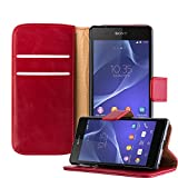 Cadorabo – Luxury Book Style Wallet Design Case for Sony Xperia Z2 with 2 Card Slots and Stand Function - Etui Case Cover Protection Pouch in WINE-RED