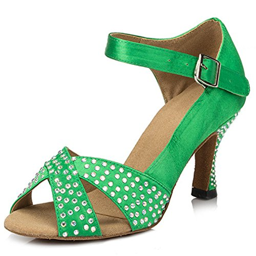 Dance Green Toe Chunky Peep Women's Dance Shoes Ballroom Shoesland Heel Rhinestone W121 Salsa Tango Latin q47ZTx1pc