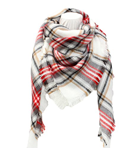 White Plaid Scarf (SUNDAYROSE Plaid Blanket Scarves Oversized Winter Warm Sqaure Tartan Shawl Wrap - White Red Gray)