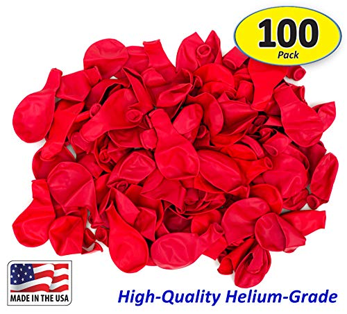 Garage Sale Pup Pack of 100, Bright Red Color Latex Balloons, Made in -