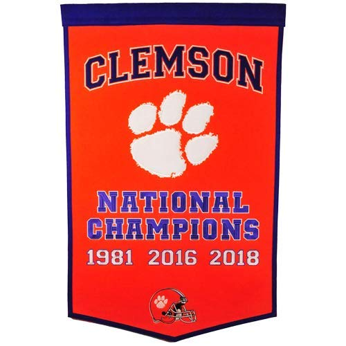 Clemson Tigers Football Championship Dynasty Banner - with hanging rod ()