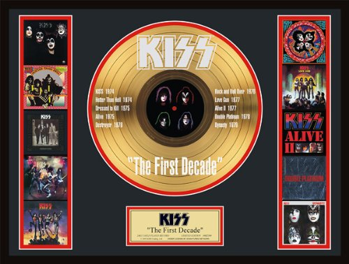 - Kiss/First Decade Etched Ltd. Edition Gold Record W/ Album Covers