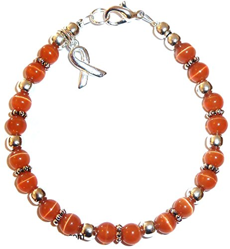 Hidden Hollow Beads Cancer Awareness Bracelet, For Showing Support or Fundraising Campaign, Adult Size with Extension, 6mm Cat's Eye Beads. Comes Packaged. (Leukemia - Orange)]()