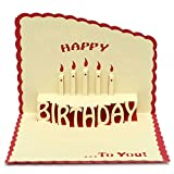 KINGSO Handmade Creative 3D Standing Cake Paper Craft Birthday Greeting Card With Envelope Red