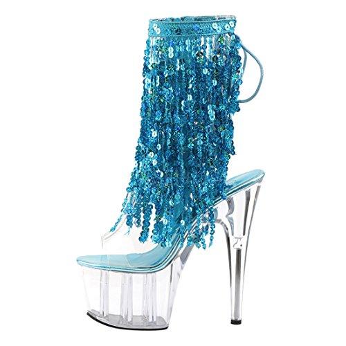 Ankle s aqua Clear c Pvc Hologram Pleaser Bootie Women's Ado1017sqf Clear c CXqxnBfUw