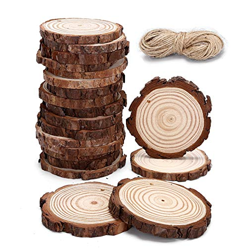 20pcs Hanging Natural Wood Slices Round Unfinished for centerpieces with Holes bark for Christmas Ornaments Unfinished Wood Woodcrafts DIY Crafts S-20PCS]()
