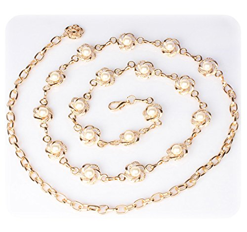(Amiveil Women's Metal Chain Flower Pearl Belts Gold Silver )
