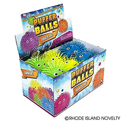 Rhode Island Novelty Puffer Balls with Eyes, Assorted Colors - 1 Dozen: Toys & Games