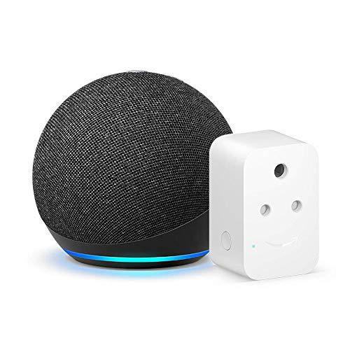 Echo Dot (4th Gen, Black) bundle with Amazon 6A Smart Plug – Easy Set-Up