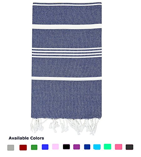 Turkish Cotton Bath Beach Spa Sauna Hammam Yoga Gym Hamam Towel Fouta Peshtemal Pestemal Blanket Navy