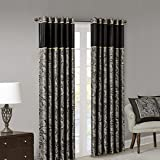 Madison Park Aubrey Jacquard Room-Darkening Window Curtain 2 Blackout Panel Pair for Bedroom and Dormitory, 50x108, Black
