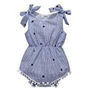 BOBORA Newborn Baby Girls Rompers One-pieces Pompom Bow Jumpsuits Sleeveless (L/80/12-18M, Blue Stripe)