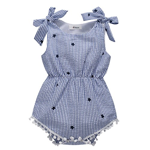 Baby Girl Overalls - BOBORA Newborn Baby Girls Rompers One-pieces Pompom Bow Jumpsuits Sleeveless (L/80/12-18M, Blue Stripe)