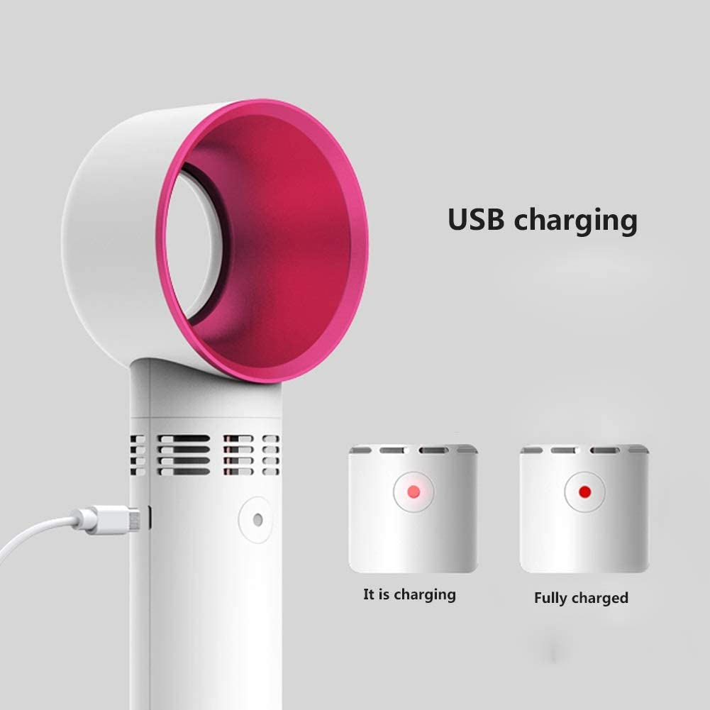 Color : White+Green+Black Tianqi Small Fan 3 Speed USB Mini Portable 2000mAh No Leaf Handheld Charging Desktop//Home//Office Wind Cute
