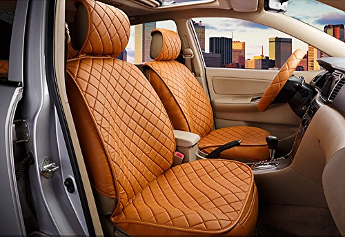 18pc superior quality luxury Champagne Seat Covers imitation leather Seating Universal Full Set car seat cover Easy to install Fit Most Car by Maimai88 (Image #3)