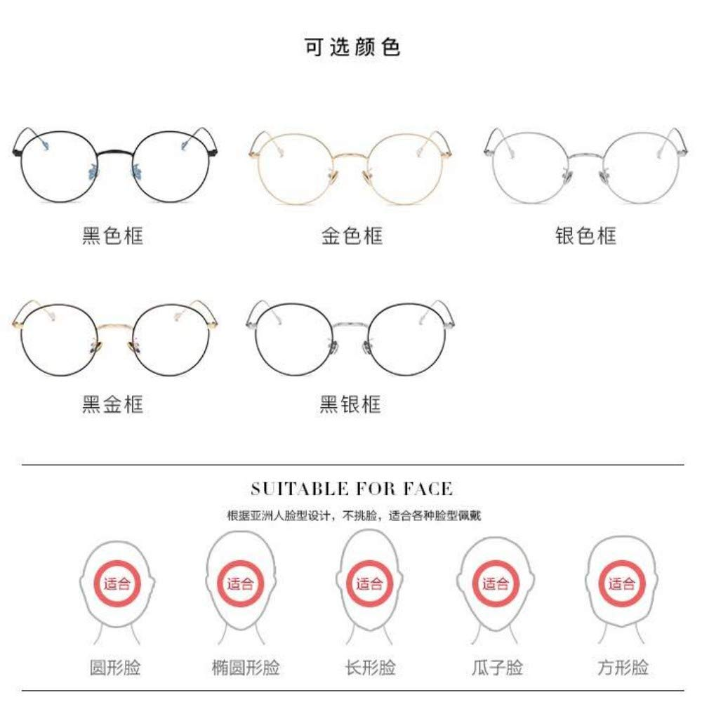 Ultra light metal retro popular round frame for///men and women anti-blue glasses without degree gold frame
