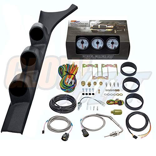 GlowShift Diesel Gauge Package for 1986-1993 Dodge Ram Cummins First 1st Gen - White 7 Color 60 PSI Boost, 1500 F Pyrometer EGT & Transmission Temp Gauges - Black Triple Pillar Pod