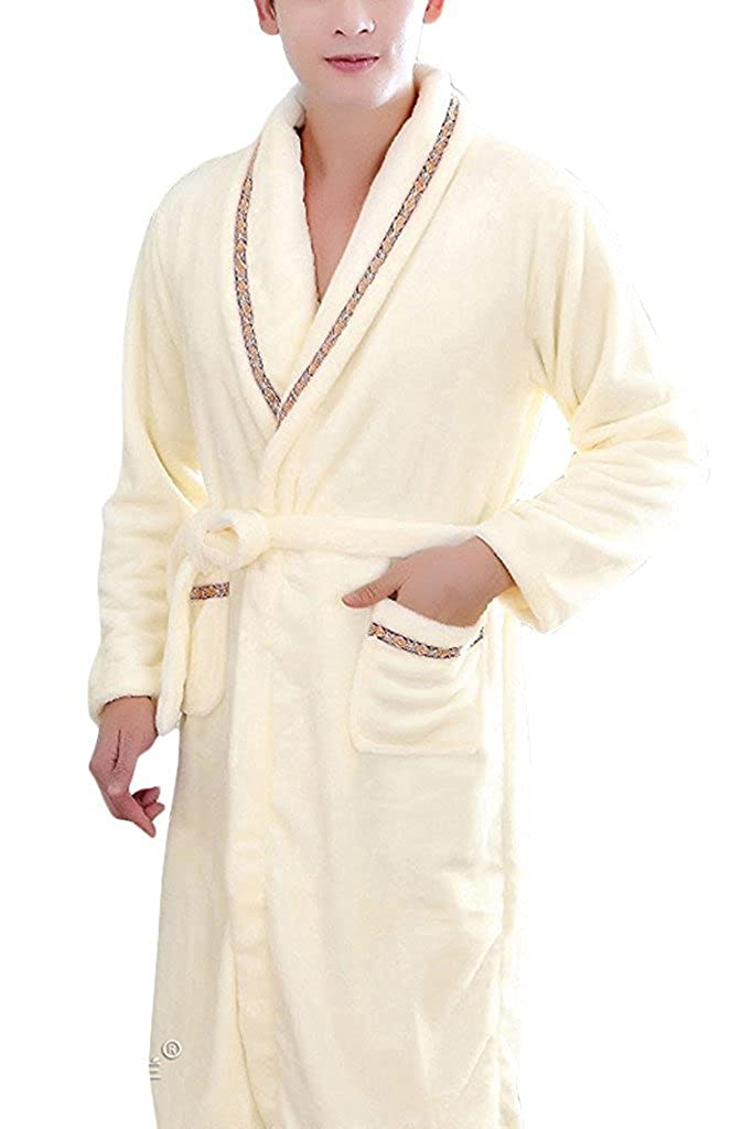 YOUAREFACNY Men's 2017 New Sleepwear Fashion Shawl Bathrobe Soft Fleece Spa Robe