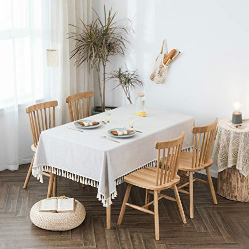 """Villa Feel Textured Fabric Tablecloth- Waterproof Heavy Weight Cotton Linen Fabric Dust-Proof Table Cover for Kitchen Dinning Tabletop Decoration(54"""" x 54"""" Rectangular-Beige Texture)"""