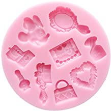 CHILDREN BIRTHDAY PARTY ESSENTIAL MINNIE MAKE UP SET Silicone Mould _ compact mirror,perfume bottle,make up palette,heart,tote bag,comb,nail polish,music box, Sugarcraft Food Grade Icing lace Mould, non stick Sugar paste, Fondant, Butter, Resin, Cabochon, Polymer Clay, fimo, gum paste, PMC, Wax, Soap Mold, dia 10cm h 1.2cm