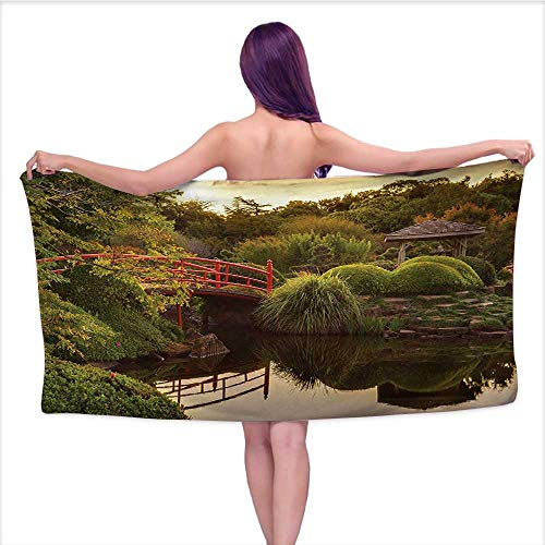 White Bath Towels Japanese,Peaceful Garden in Twilight with Reflections in Water Red Bridge on Pond Sunset,Green Yellow,W31 xL63 for Kids Mickey Mouse