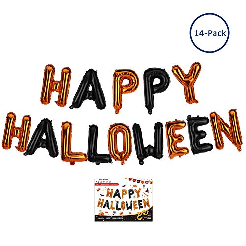 Ambithou Happy Halloween Balloon - Halloween Foil Letter Balloon for Party Decoration Black and Orange Balloons Halloween Party Supplies, Inflatable Party Games Kit Home Decor Set ()