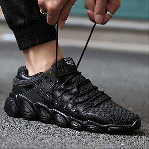 KuBua Herren Laufschuhe Indoor und Outdoor Sport Athletic Fitness Fashion Sneaker Casual Weiß Schwarz Ein Schwarz