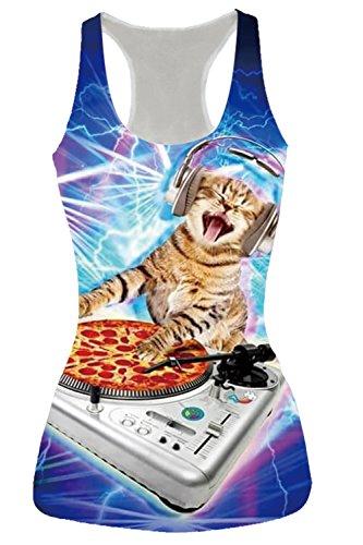Women's Racerback Yoga Shirt Summer Sleeveless Casual Listen to Music Cat Printed Tank Tops